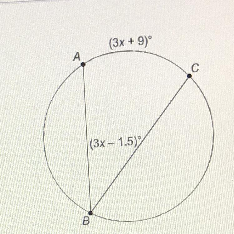 Chords and Arcs: What is the measure of AC? (3x - 1.5) (3x ...