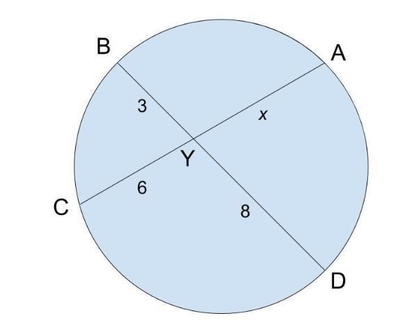 BD and AC are chords that intersect at point Y. What is ...
