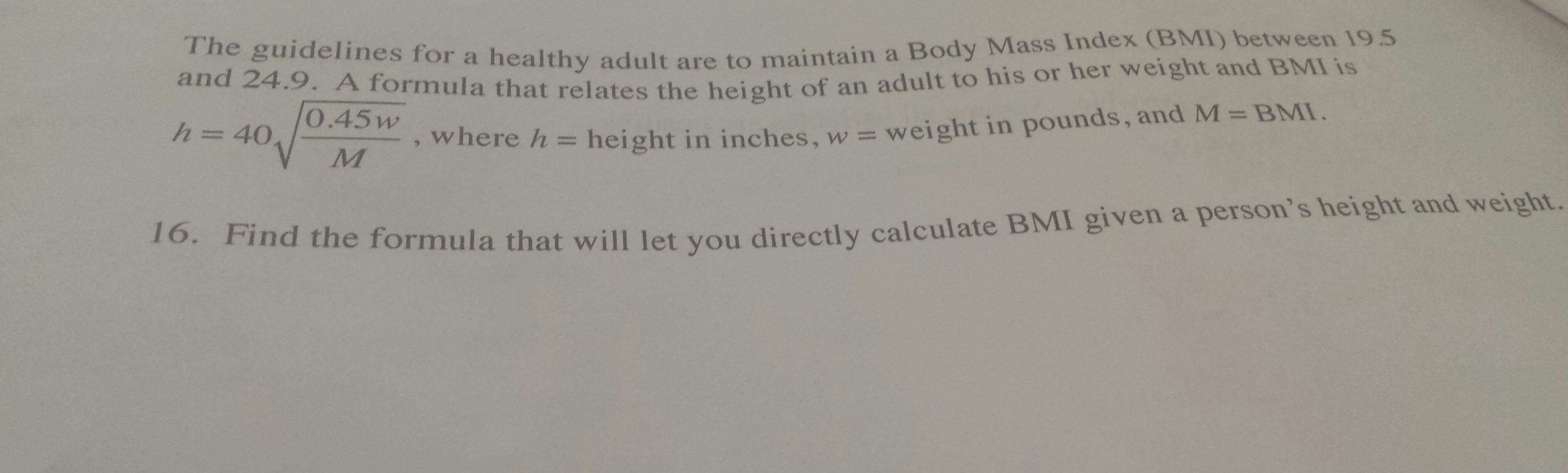 Find The Formula That Will Let U Directly Calculate Bmi Given A Persons  Height And Weight