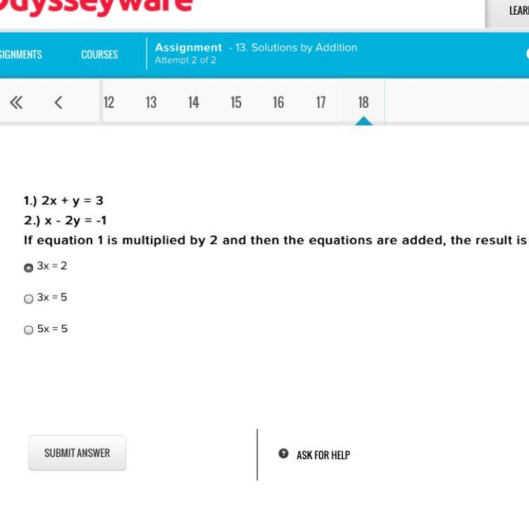 1 2x Y 3 2 X 2y 1 If Equation 1 Is Multiplied By 2 And