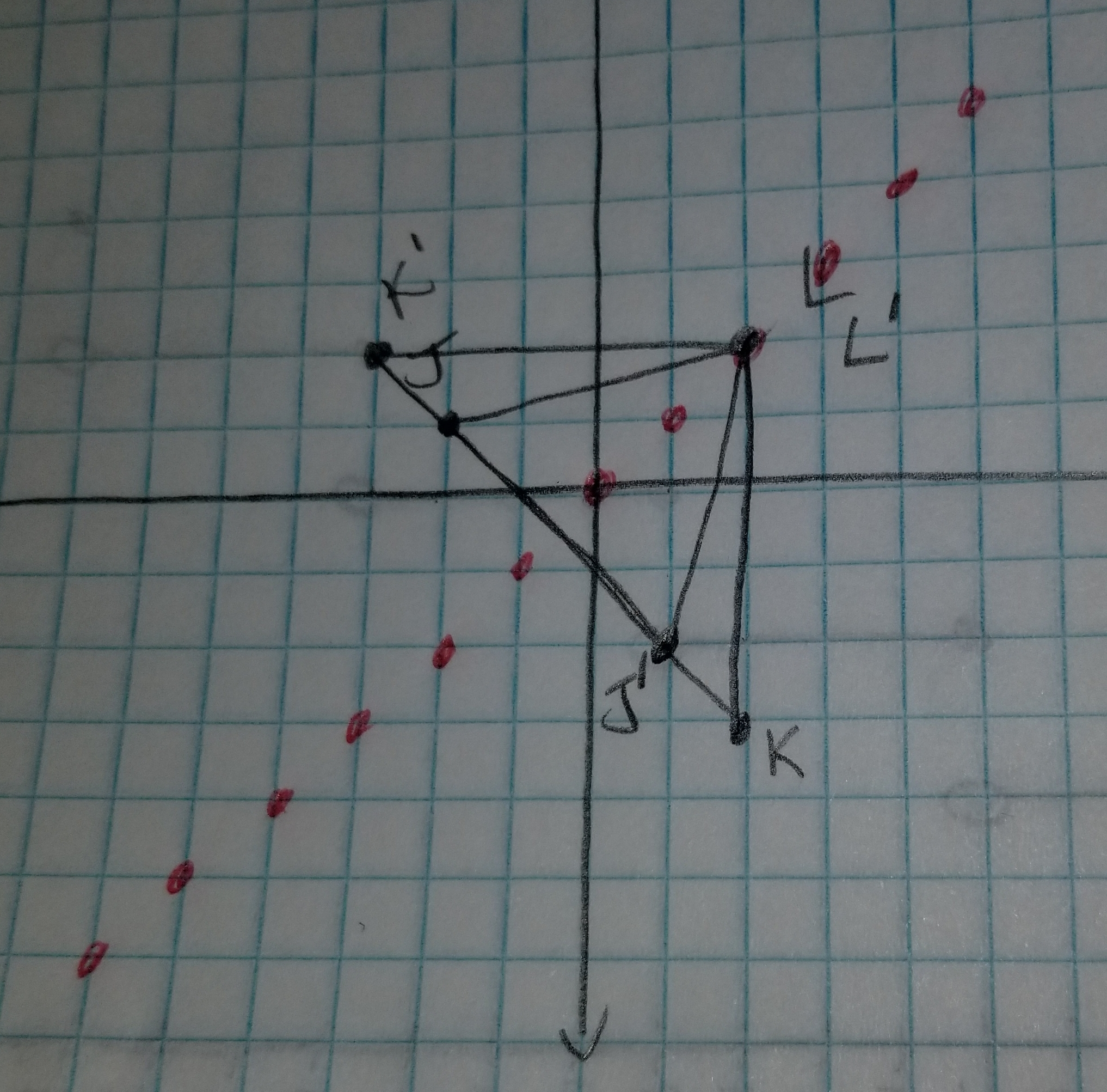 The vertices of triangle jkl are j(-2,1), k(2,-3), and l(2 ...