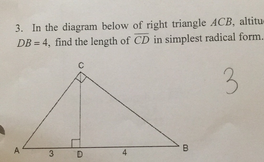 3  In The Diagram Below Of Right Triangle Acb  Altitudb