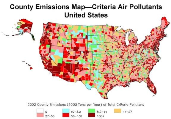 According To The Map What Part Of The United States Has The Most - Air-pollution-us-map