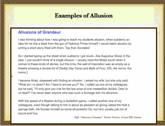 List Five Allusions That You Can Identify And Then Identify The