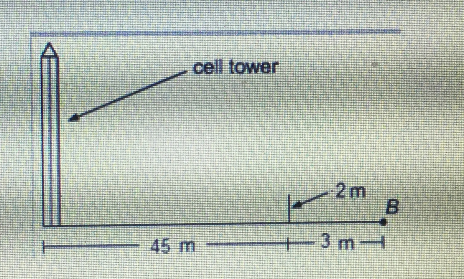 a phone company needs to know how tall a cell tower is, so it decides to use  a 2 m pole and shadows cast by the sun, as shown in the diagram