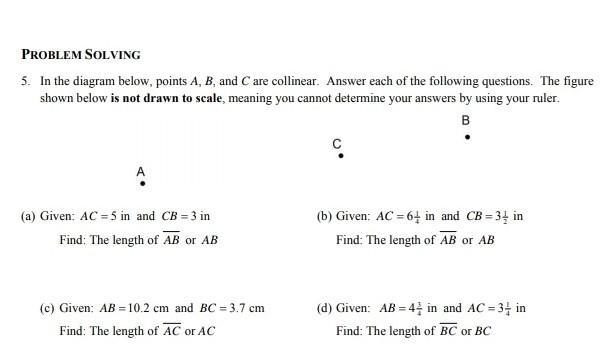 1 Amp 2 In The Diagram Below Points A B And C Are Collinear Answer Each Of The Following Brainly Com