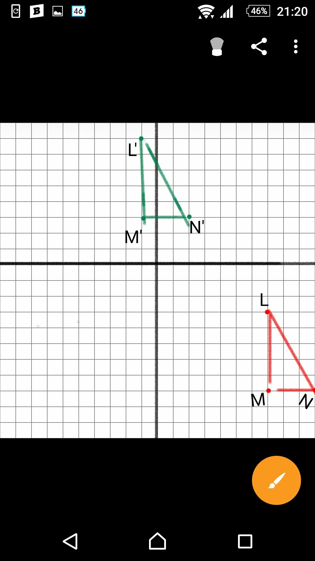 Right triangle LMN has vertices L(7, -3), M(7, -8), and N ...
