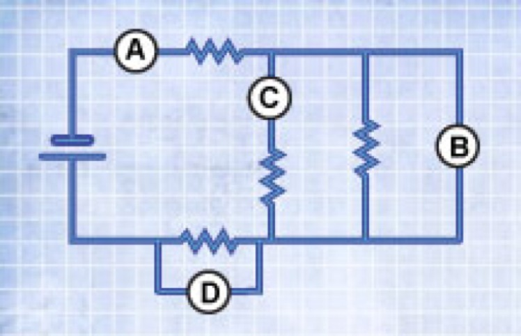 Each circled letter in the circuit diagram represents a meter that ...