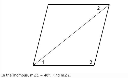 In The Rhombus M1 40 Find M2 My Options Are A 20 B 80