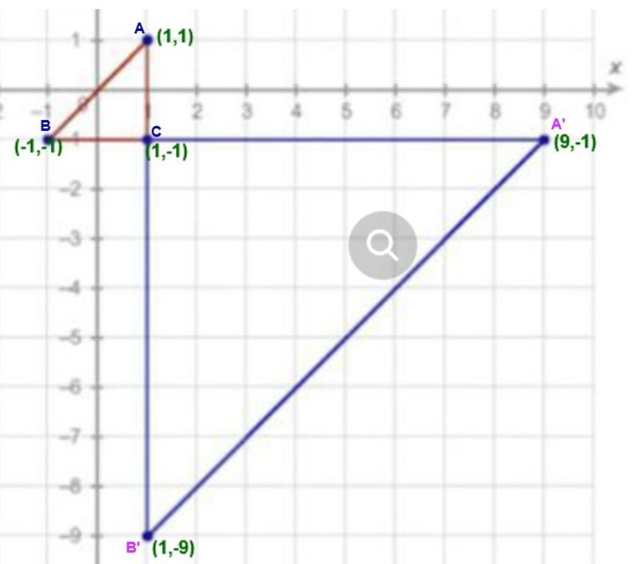 The smaller triangle is a pre-image of the bigger triangle ...