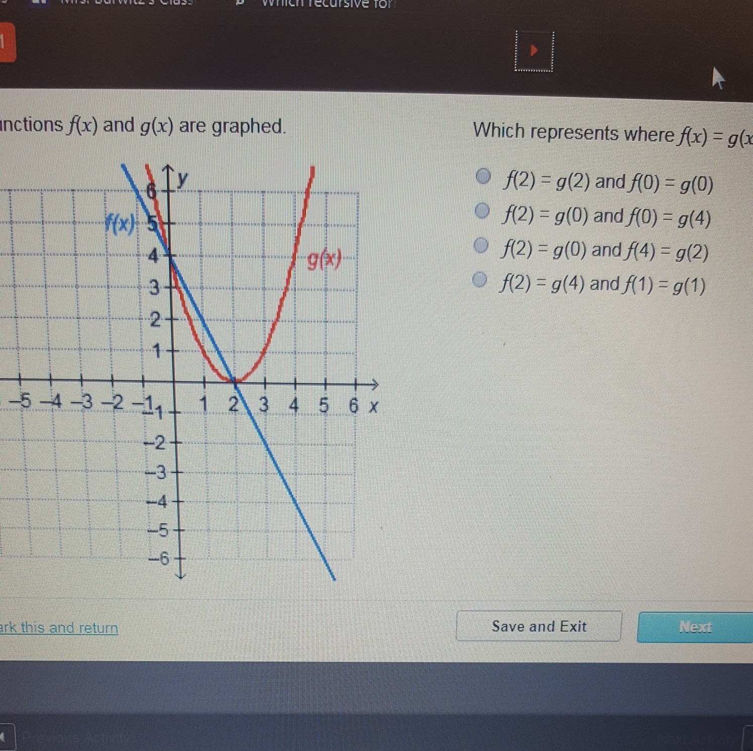 the functions of f (x) and g(x) are graphed. which ...