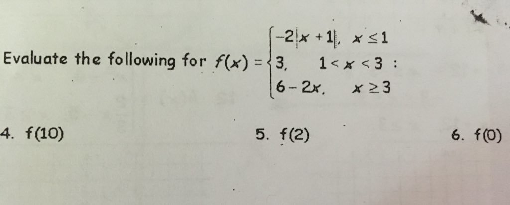 Piece Wise Functions Evaluating Problems How Do I Plug In Numbers