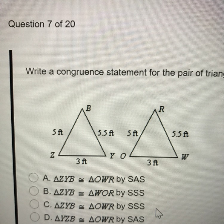 how to write a congruence statement