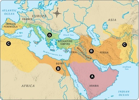 Which region shows how far Islam had spread 100 years after ... on political aspects of islam, umayyad caliphate, spread of confucianism map, rashidun caliphate, ancient islam map, muslim conquests, ottoman empire map, spread of buddhism map, spread of bahai map, spread of wahhabism map, islam africa map, spread of judaism religion, spread of zoroastrianism map, muslim history, muslim conquest of egypt, spread of culture map, byzantine empire map, spread of religion map, islamic contributions to medieval europe, early islam map, pre-islamic arabia, spread of hinduism map, spread of democracy map, spread of sikhism map, emirate of sicily map, spread of judaism map, spread of gnosticism map, spread of christianity map,