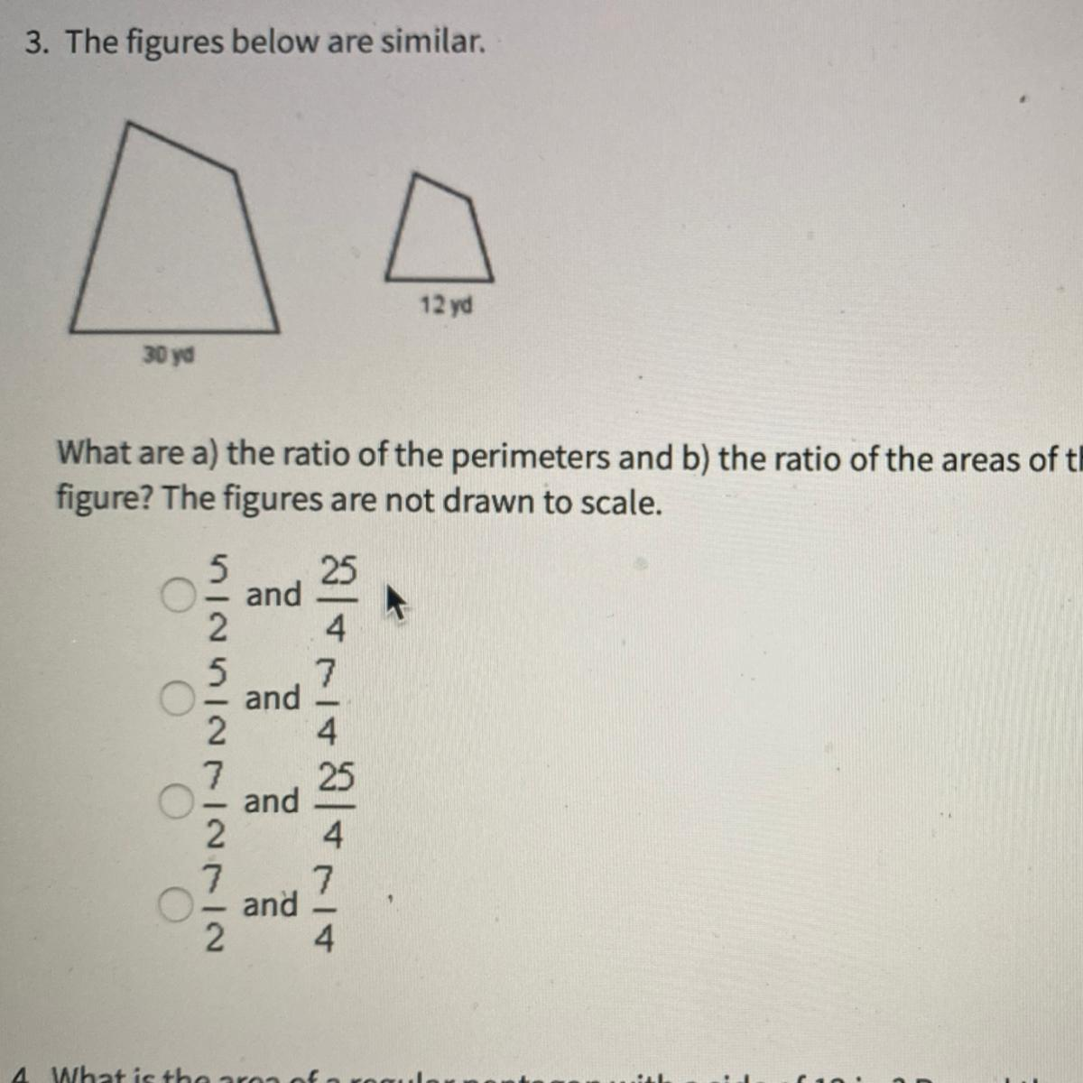 The figures below are similar. What are a) the ratio of ...