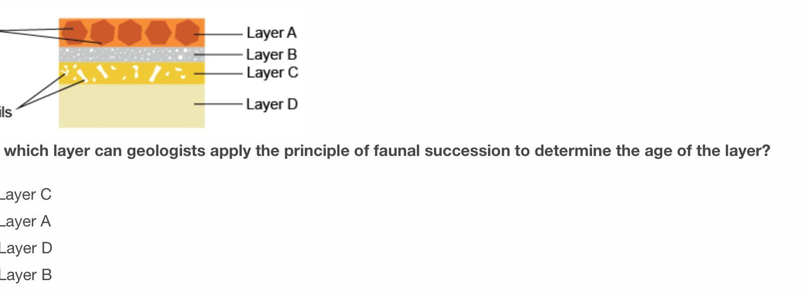 To which layer can geologists apply the principle of faunal