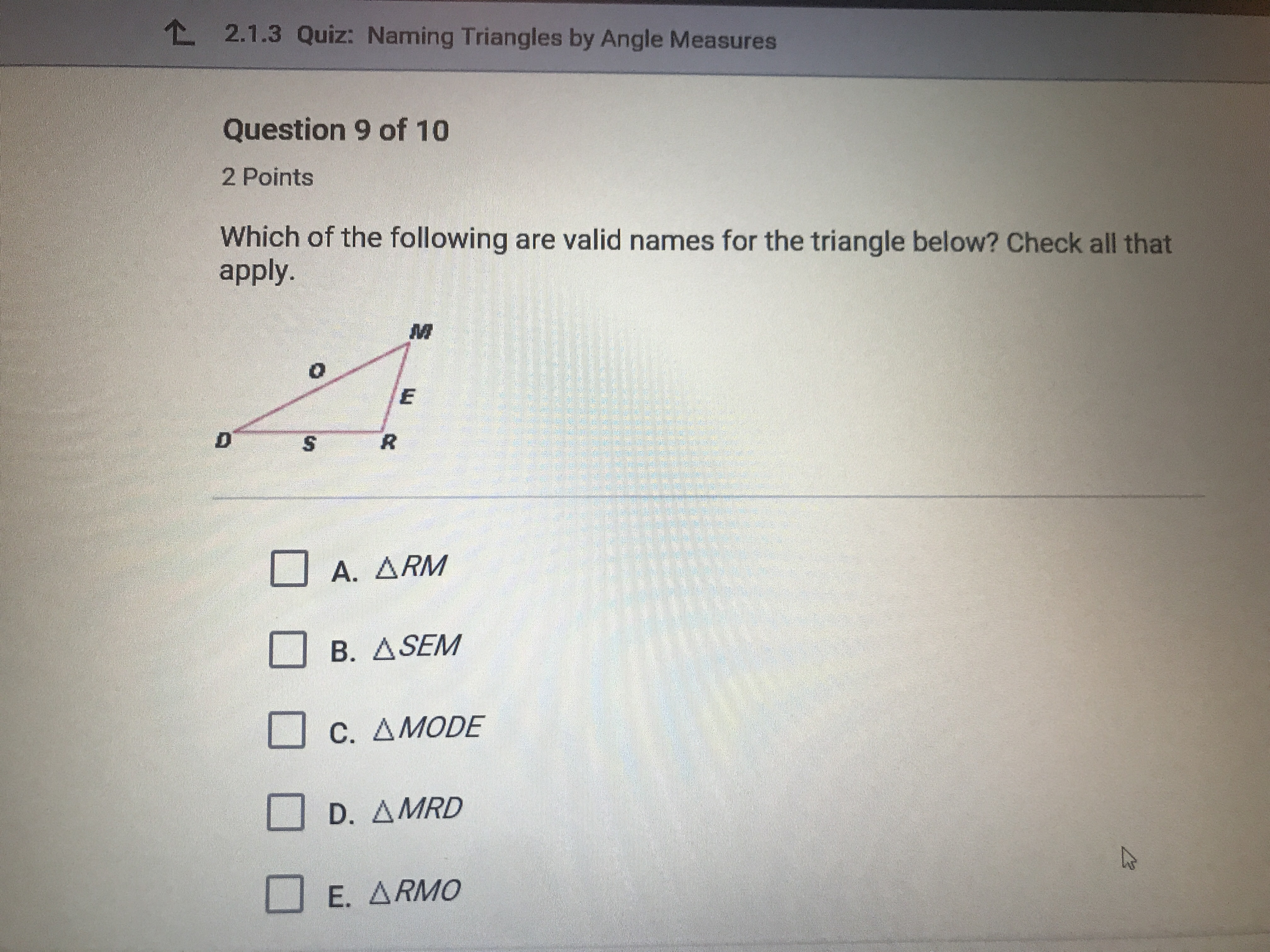 Which Of The Following Are Valid Names For The Given Triangle