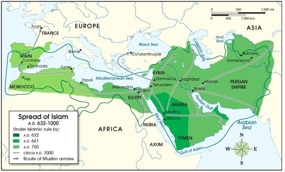 The Following Map Shows The Spread Of Islam From 632 A D Ce