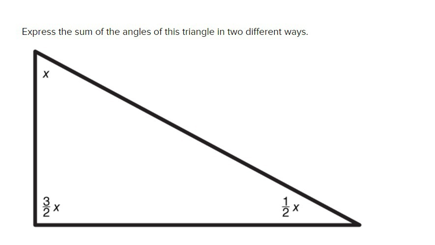 Express the sum of the angles of this triangle in two ...