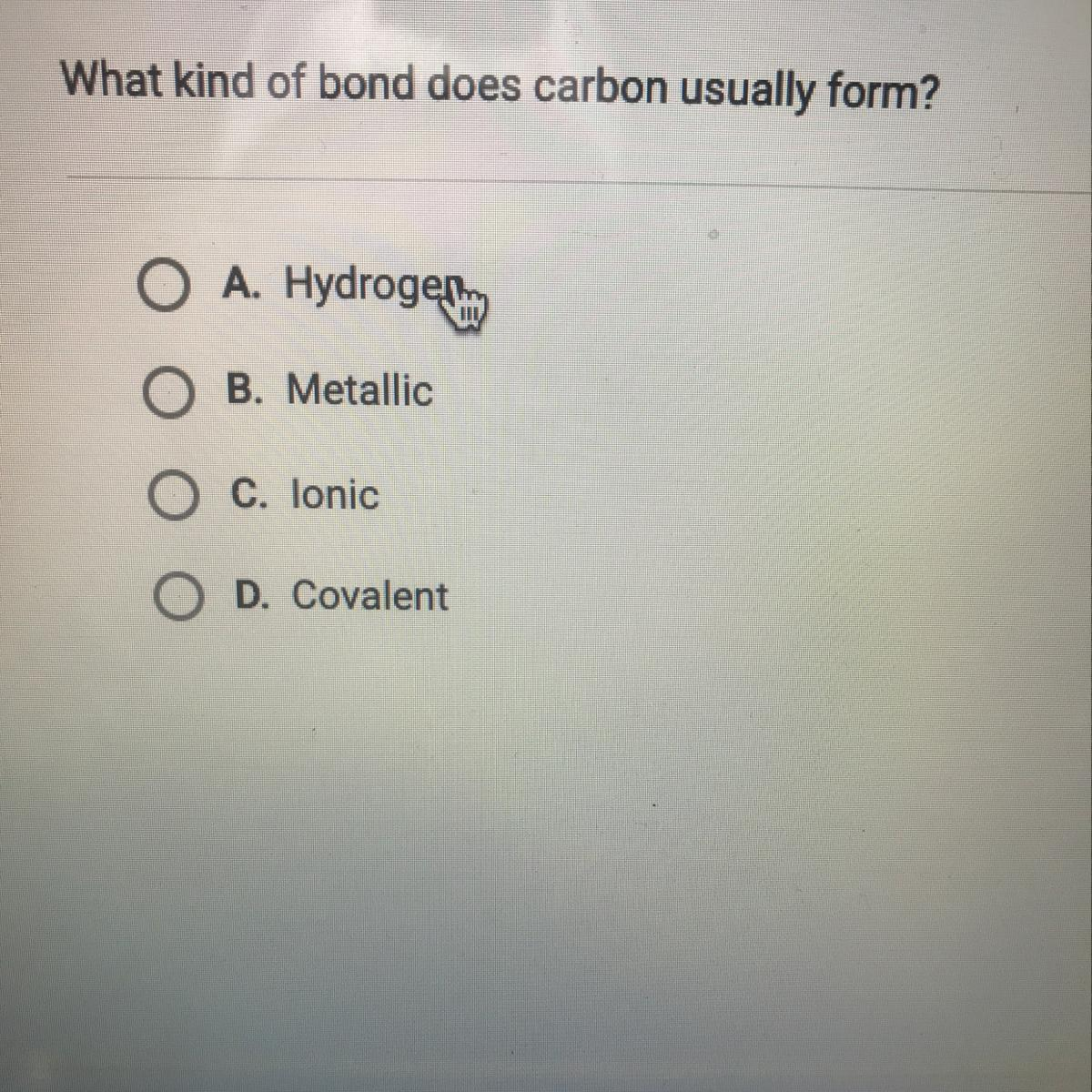 what kind of bond does carbon usually form from   Brainly.com