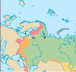 Use the map of Russia to answer the following question Where is the
