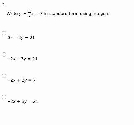 standard form using integers  Write y = x + 5 in standard form using integers. 5x – 5y ...