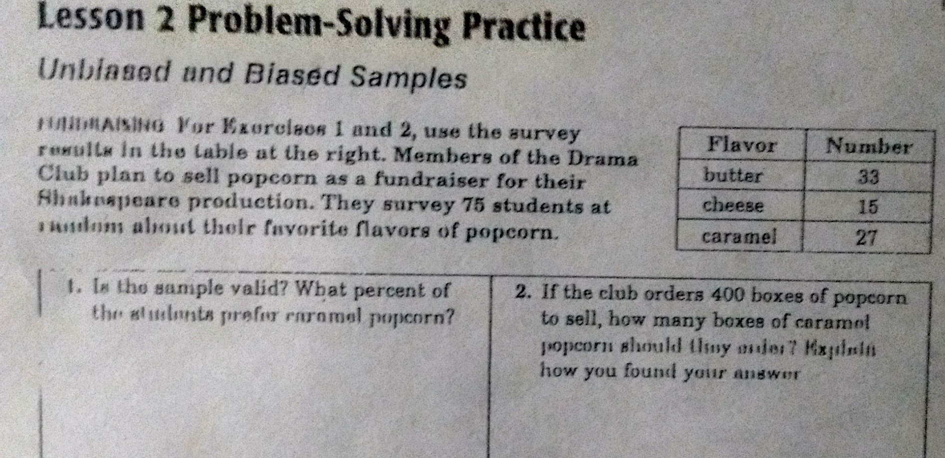 is the sample valid? what percent of students prefer caramel