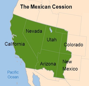 This map shows the Mexican Cession. Missouri Compromise Line ...