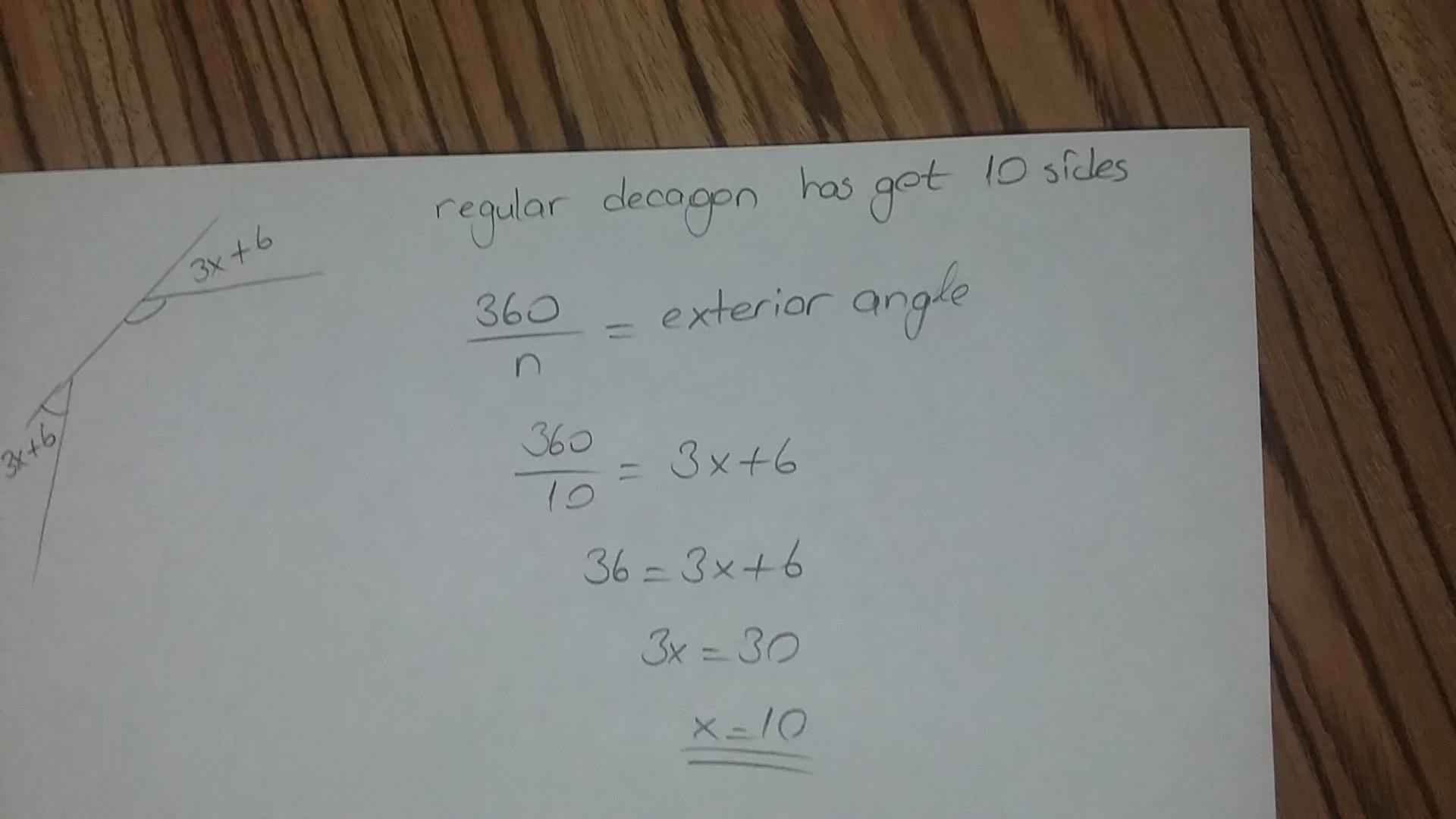 Each exterior angle of a regular decagon has a measure of - What is the exterior angle of a decagon ...