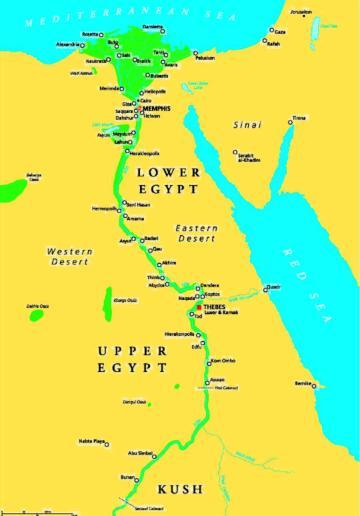 Upper And Lower Egypt Map Study the map and note the locations of settlements across upper