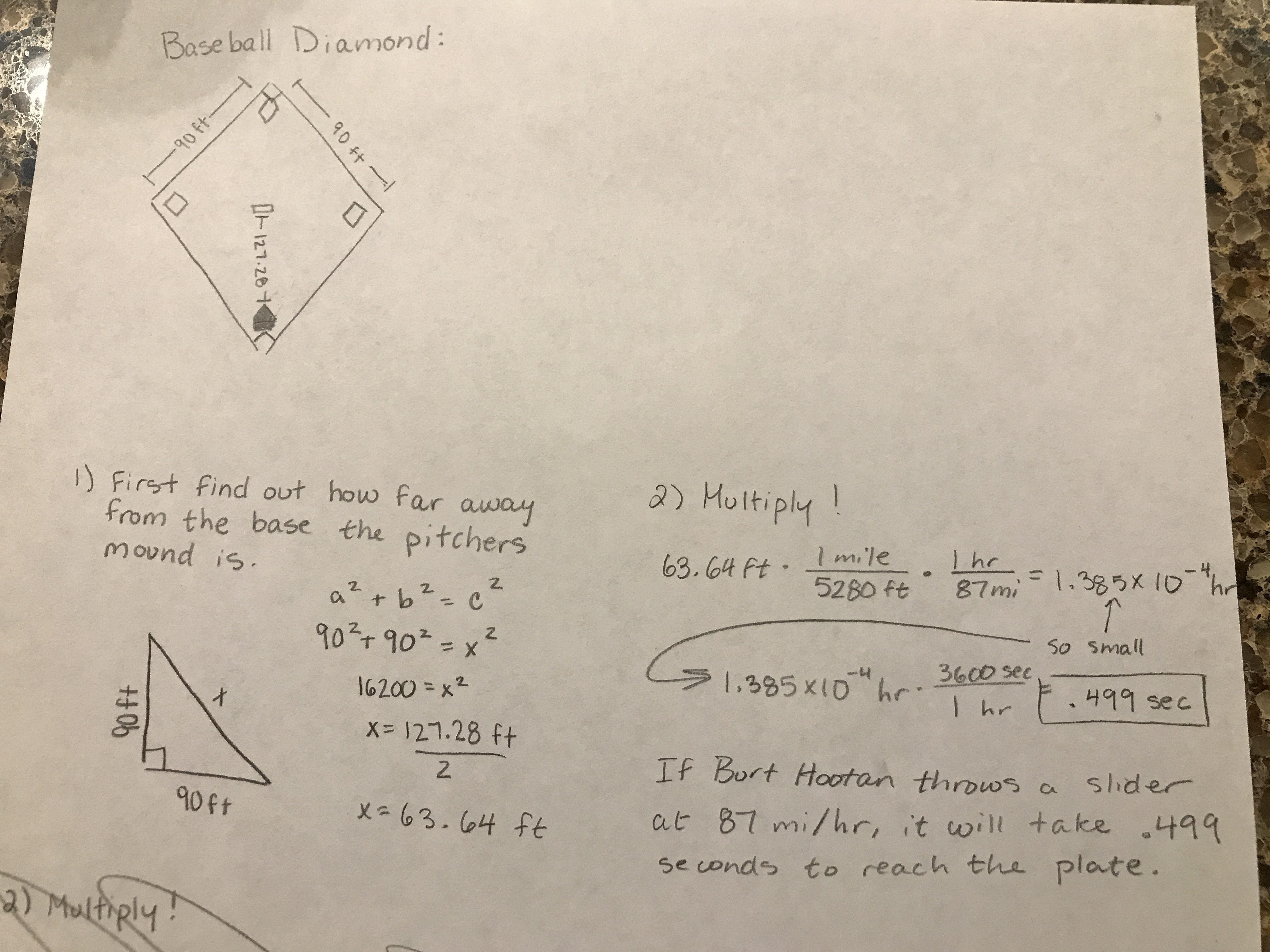 The distance between bases on a baseball diamond (a perfect square ...