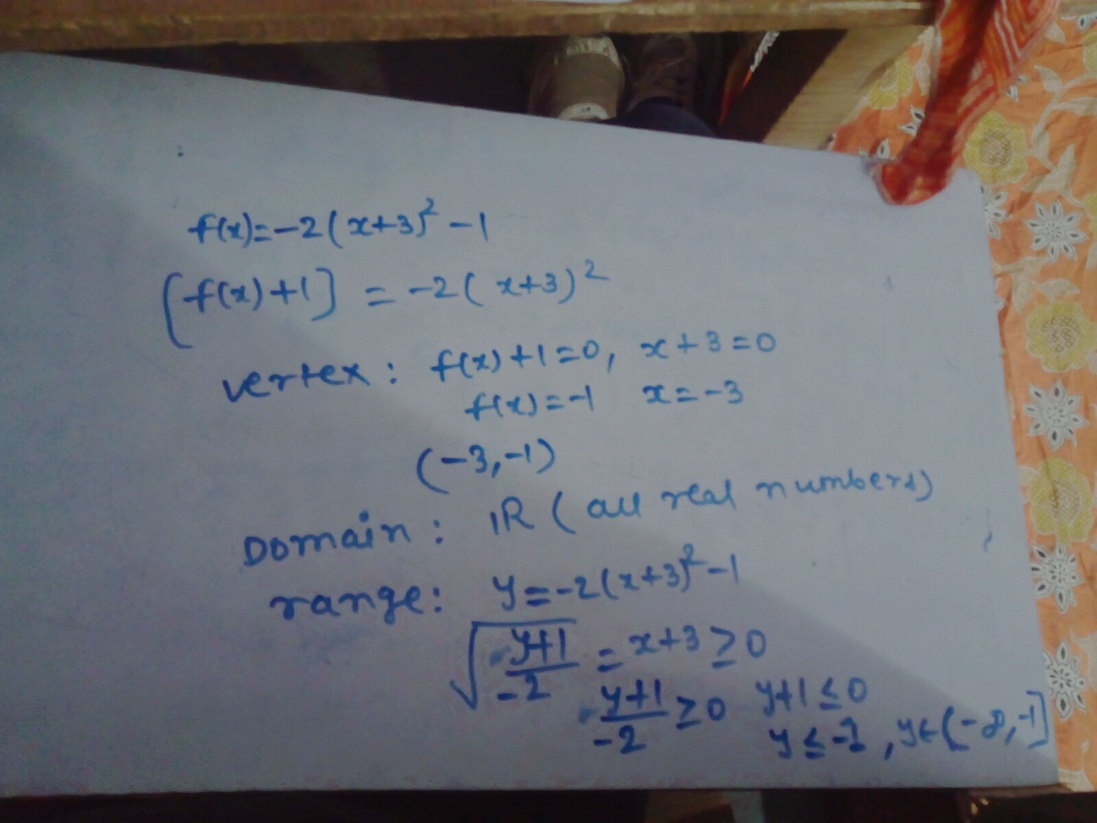 For the function f(x) = -2(x + 3)2 -1, identify the vertex ...
