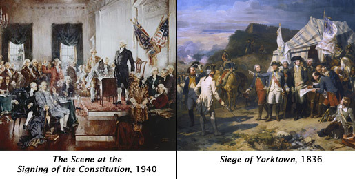 Examine the two paintings below depicting famous events from