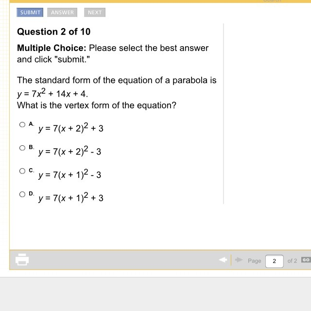 The Standard Form Of The Equation Of A Parabola Is V7x214x4