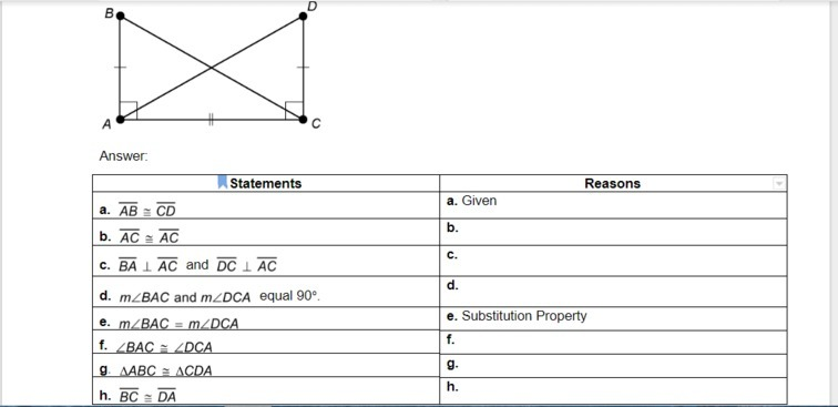 GEOMETRY!! Provide the missing reasons for the proof  Given
