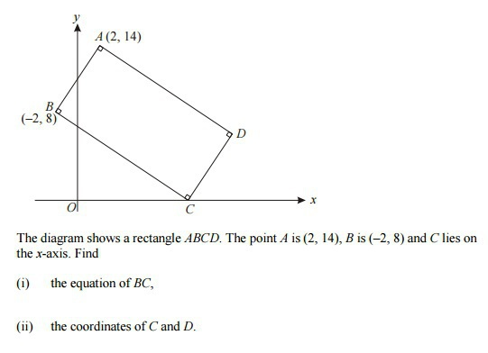 The diagram shows a rectangle ABCD The point A is 2 14