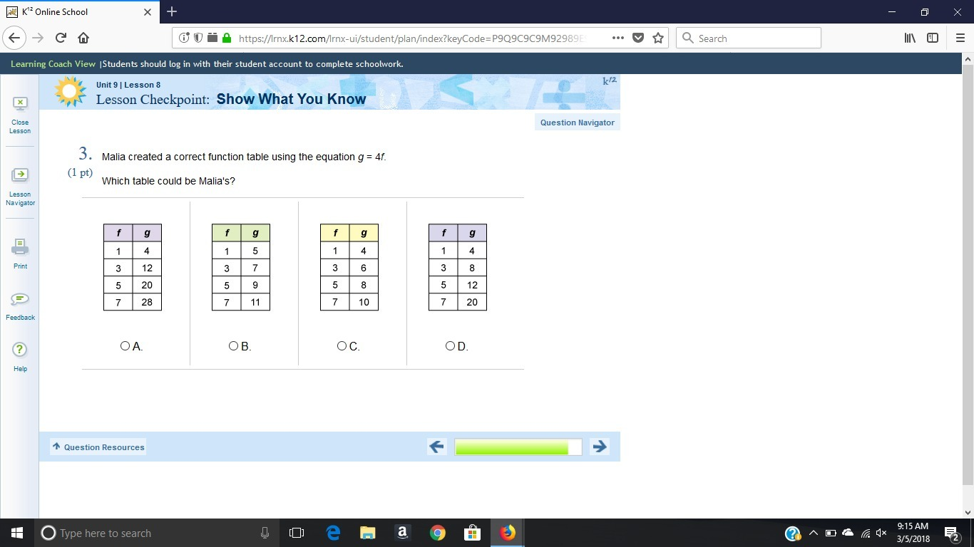 answer asap Malia created a correct function table using the