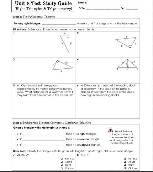 Unit 8 Test Study Guide Right Triangles And Trigonometry Brainly Com