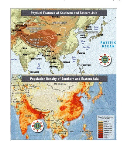Map Of Southern And Eastern Asia.Using The Map Of The Population Density Of Southern And Eastern Asia