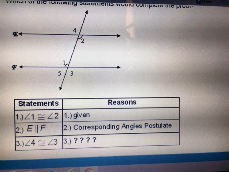 Which of the following statements would complete the proof - Which of the following are exterior angles ...