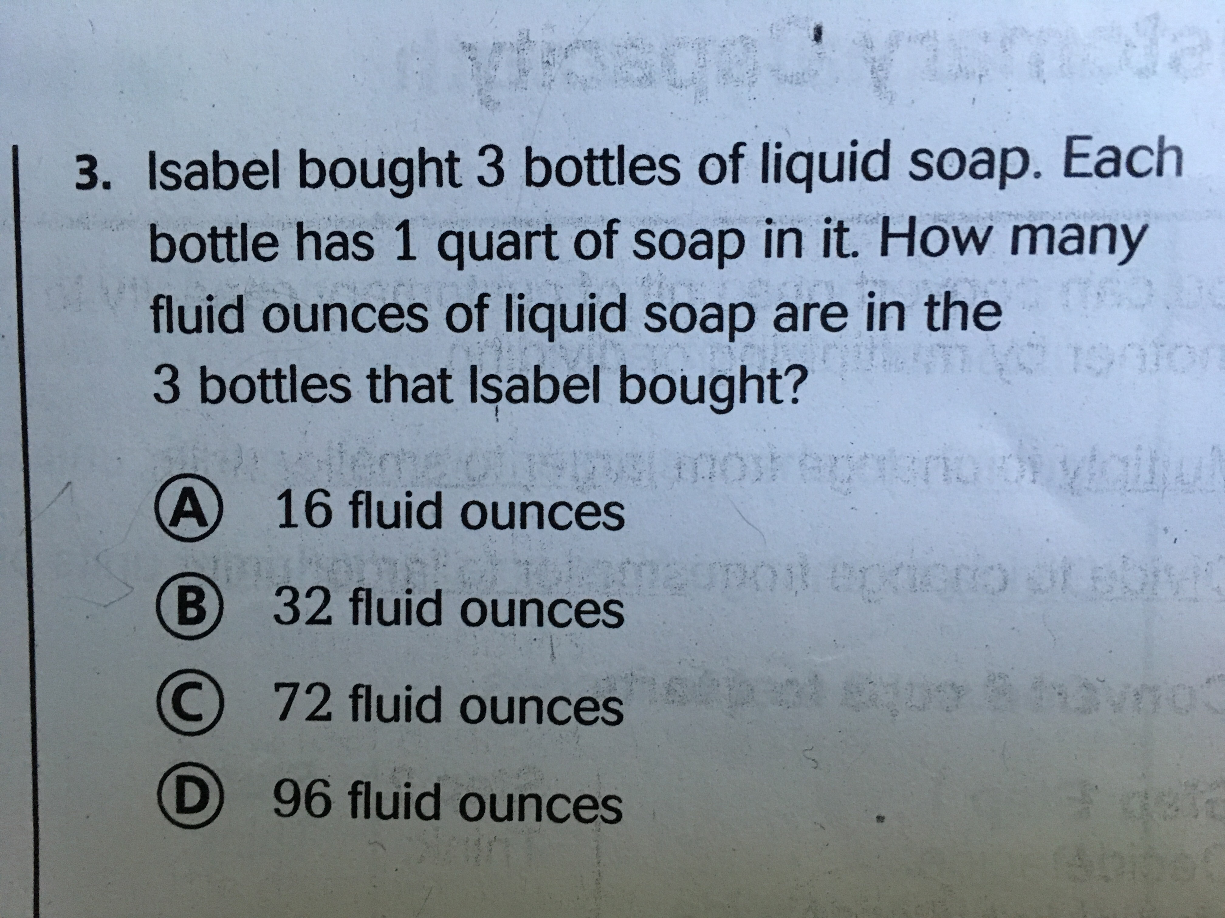 Isabel bought 3 bottles of liquid soap. Each bottle has 1 ...