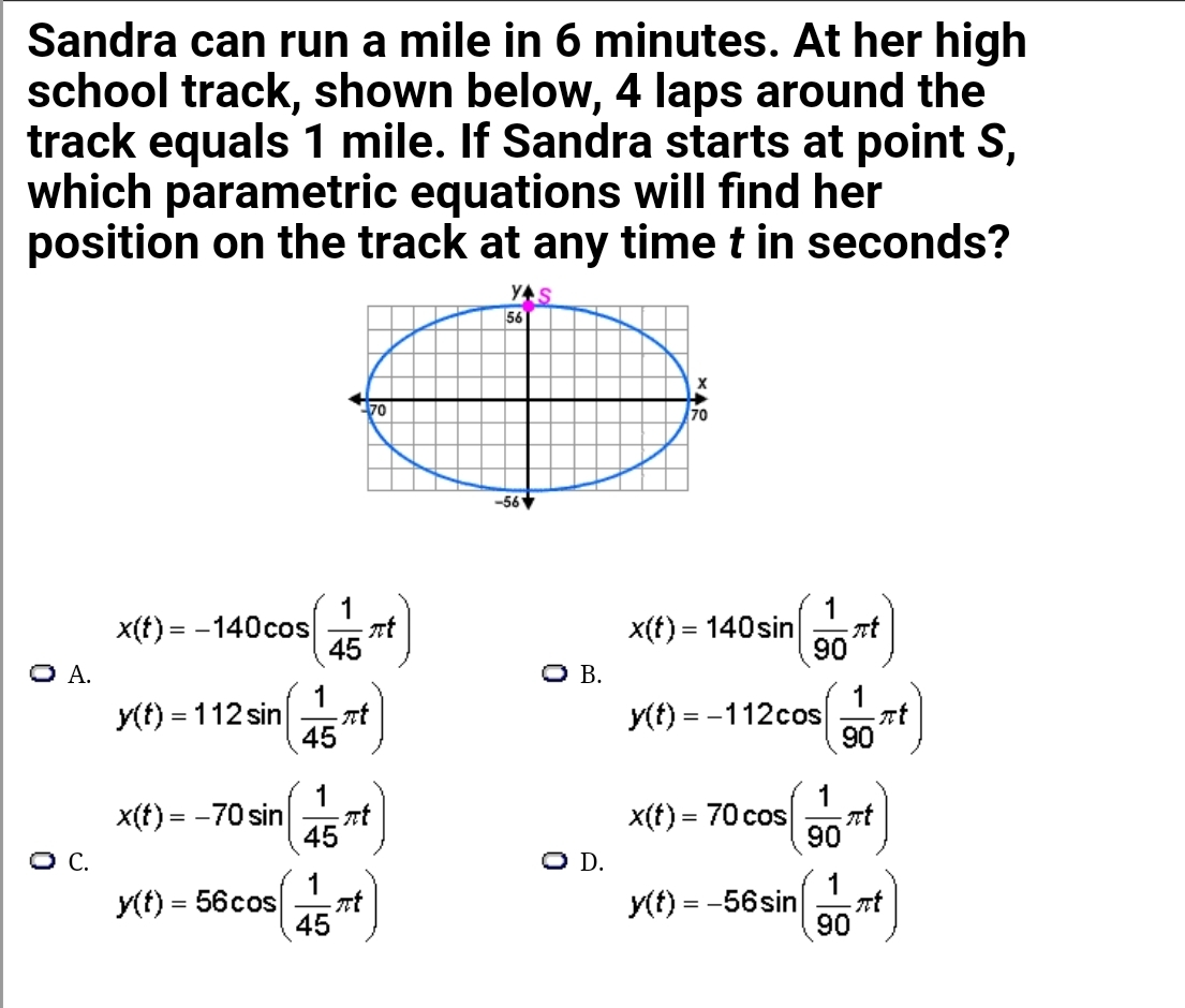 high school pre cal sandra can run a mile in 6 minutes. at her high