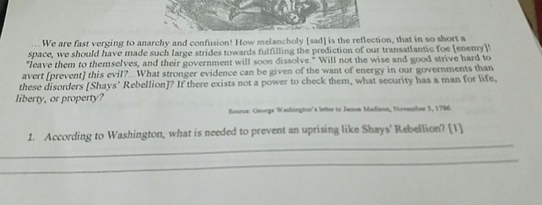 According To Washington What Is Needed To Prevent An Uprising Like
