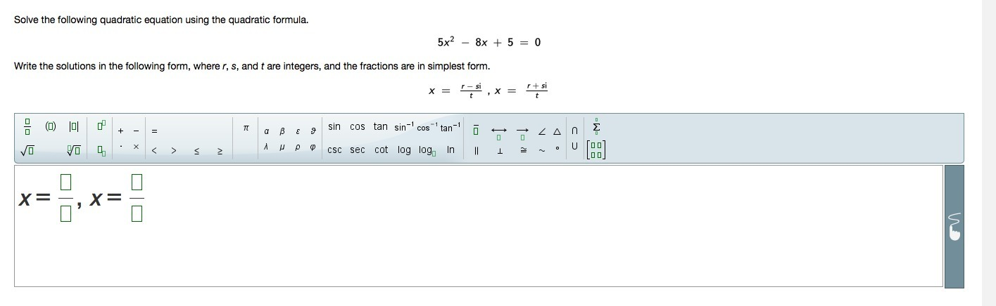 simplest form equation  Solve the following quadratic equation using the quadratic ...