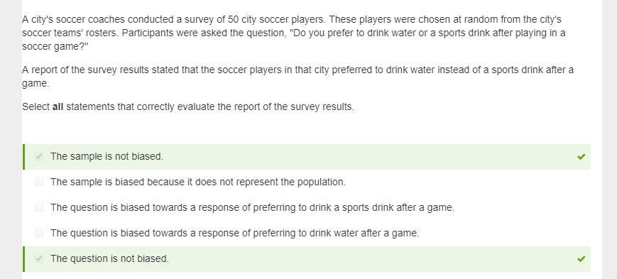 Unit 7:10 ALG A city's soccer coaches conducted a survey of 50 city