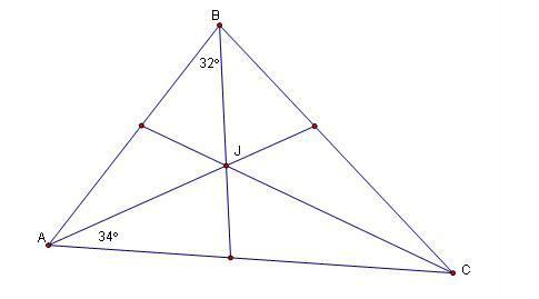 Find the measure of angle JCA if J is the incenter of the ...
