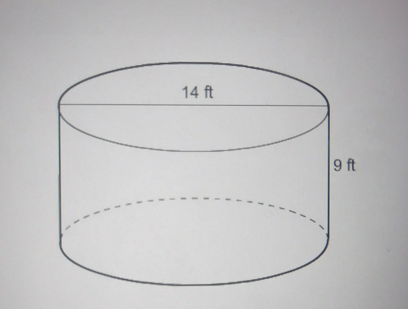 What Is The Surface Area Of The Cylinder 14ft Length 9ft Heighta 126pft B 273pft C 224pft D Brainly Com