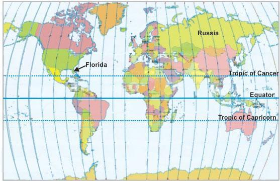 ook at Russia and Florida on the world map shown below. The ...