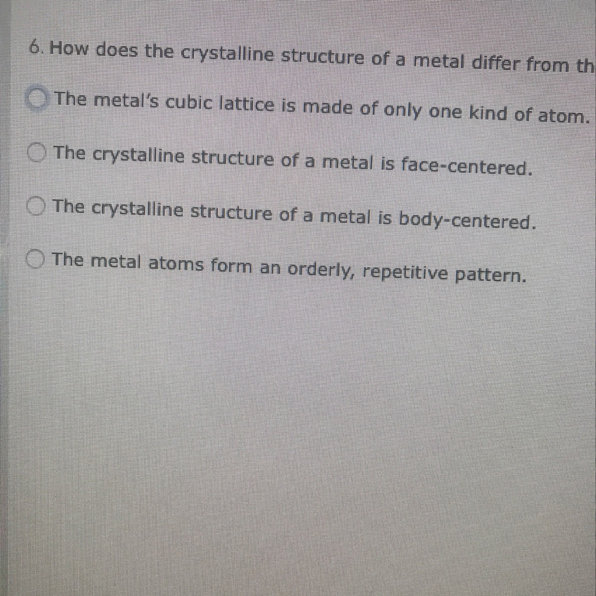 how does the crystalline structure of a metal differ from the ...