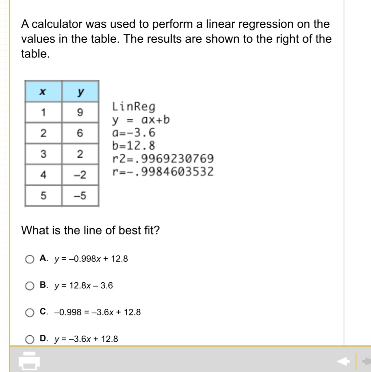 a calculator was used to perform a linear regression on the values
